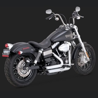 VANCE HINES SHORTSHOTS STAGGERED CHROME EXHAUST HARLEY DYNA 12-18