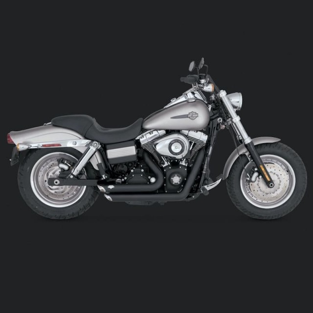 VANCE HINES SHORTSHOTS STAGGERED BLACK EXHAUST HARLEY DYNA 06-11 - SIDE
