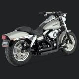 VANCE HINES SHORTSHOTS STAGGERED BLACK EXHAUST HARLEY DYNA 06-11