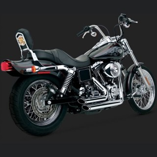 VANCE HINES SHORTSHOTS STAGGERED CHROME EXHAUST HARLEY DYNA 99-05