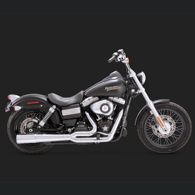 VANCE HINES SHORTSHOTS STAGGERED CHROME EXHAUST HARLEY DYNA 12-17 - SIDE