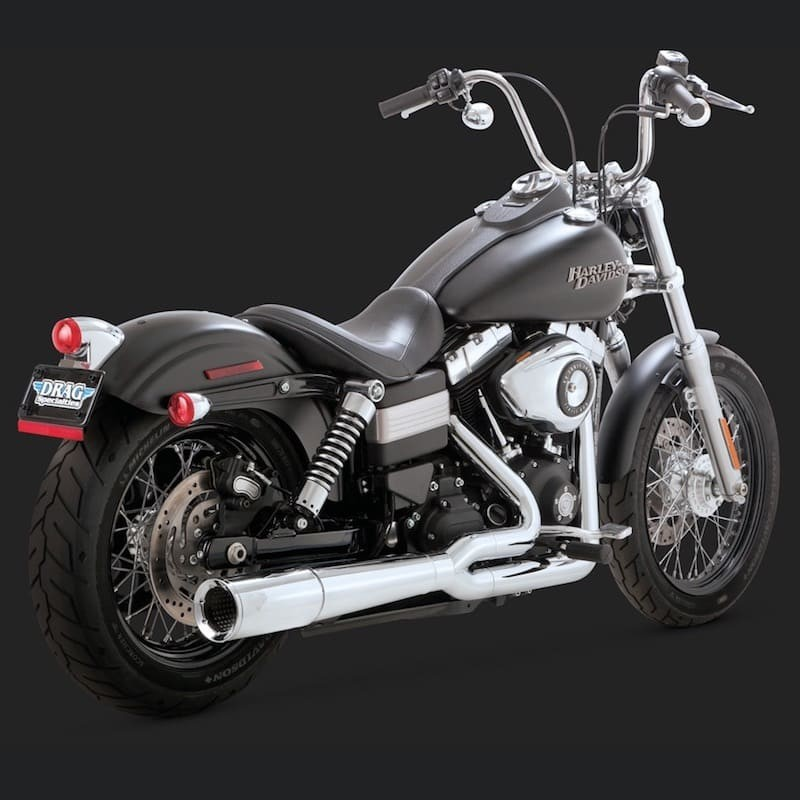 VANCE HINES SHORTSHOTS STAGGERED CHROME EXHAUST HARLEY DYNA 12-17