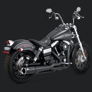 VANCE HINES PRO PIPE CROMO 2-IN-1 BLACK EXHAUST HARLEY DYNA 12-17