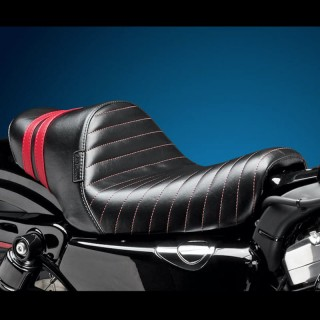 SELLA LE PERA STUBS SPOILER SOLO PLEATED SEAT RED STRIPES HARLEY SPORTSTER XL 04-19