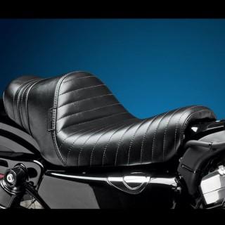 SELLA LE PERA STUBS SPOILER PLEATED SEAT BLACK STRIPES HARLEY SPORTSTER XL 04-19