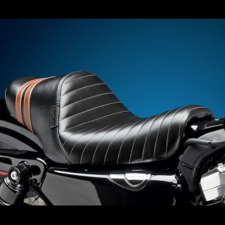SELLA LE PERA STUBS SPOILER PLEATED SEAT BROWN STRIPES HARLEY SPORTSTER XL 04-19