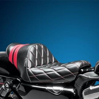 SELLA LE PERA STUBS SPOILER DIAMOND SEAT RED STRIPES HARLEY SPORTSTER XL 04-19