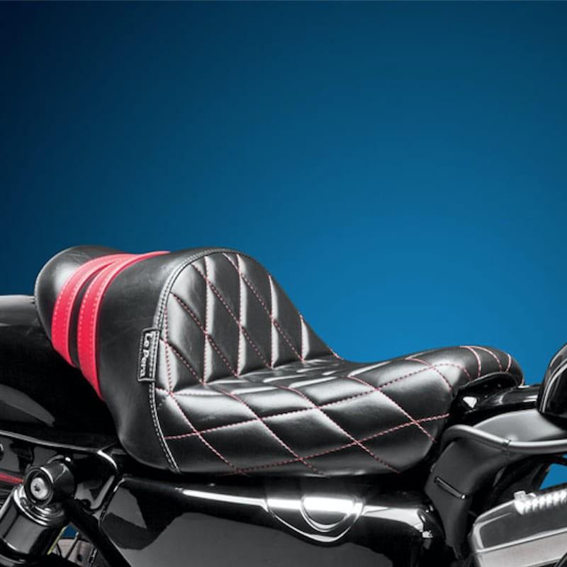 LE PERA STUBS SPOILER DIAMOND SEAT RED STRIPES HARLEY SPORTSTER XL 2004-2020
