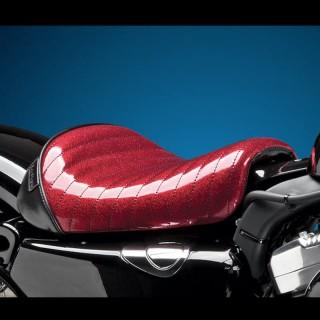 SELLA LE PERA BARE BONES PLEATED RED METAL FLAKE SEAT HARLEY SPORTSTER XL 1200