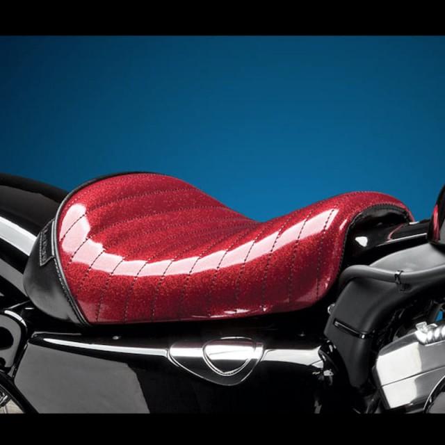 LE PERA BARE BONES PLEATED RED METAL FLAKE SEAT HARLEY SPORTSTER XL 1200