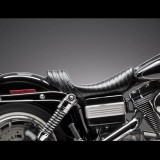 LE PERA STUBS SPOILER PLEATED SEAT BLACK STRIPES HARLEY DYNA - SIDE