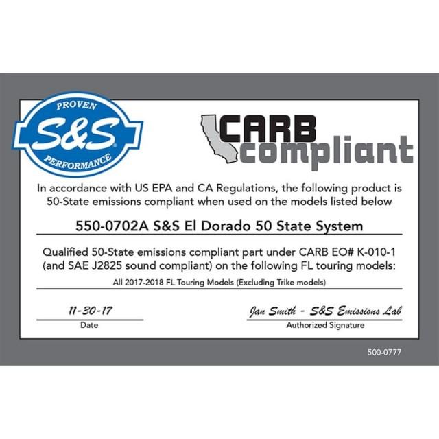 S&S EL DORADO TRUE DUAL BLACK TRACER CAPS EXHAUST SYSTEM HARLEY TOURING - EPA CARB