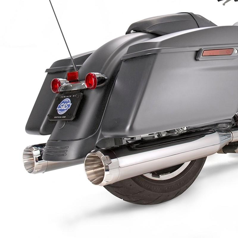 TERMINALI S&S MK45 SLIP-ON CROMO CON THRUSTER CAPS CROMO HARLEY TOURING