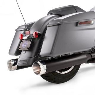 S&S MK45 BLACK SLIP-ON MUFFLERS WITH CHROME THRUSTER CAPS HARLEY TOURING
