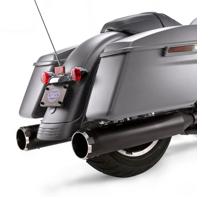S&S MK45 BLACK SLIP-ON MUFFLERS WITH BLACK THRUSTER CAPS HARLEY TOURING