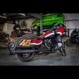S&S MK45 BLACK SLIP-ON MUFFLERS WITH BLACK THRUSTER CAPS HARLEY TOURING - GARAGE 2
