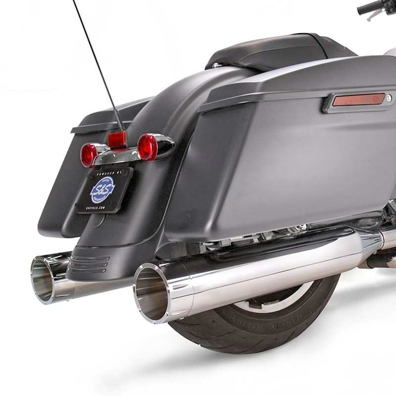 S&S MK45 CHROME SLIP-ON MUFFLERS WITH CHROME TRACER CAPS HARLEY TOURING