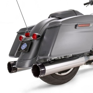 S&S MK45 CHROME SLIP-ON MUFFLERS WITH BLACK TRACER CAPS HARLEY TOURING
