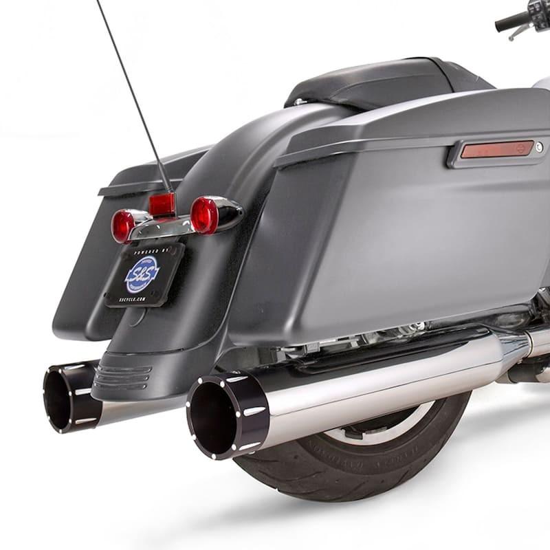 TERMINALI S&S MK45 SLIP-ON CROMO CON TRACER CAPS NERI HARLEY TOURING