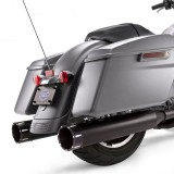 S&S MK45 BLACK SLIP-ON MUFFLERS WITH BLACK TRACER CAPS HARLEY TOURING