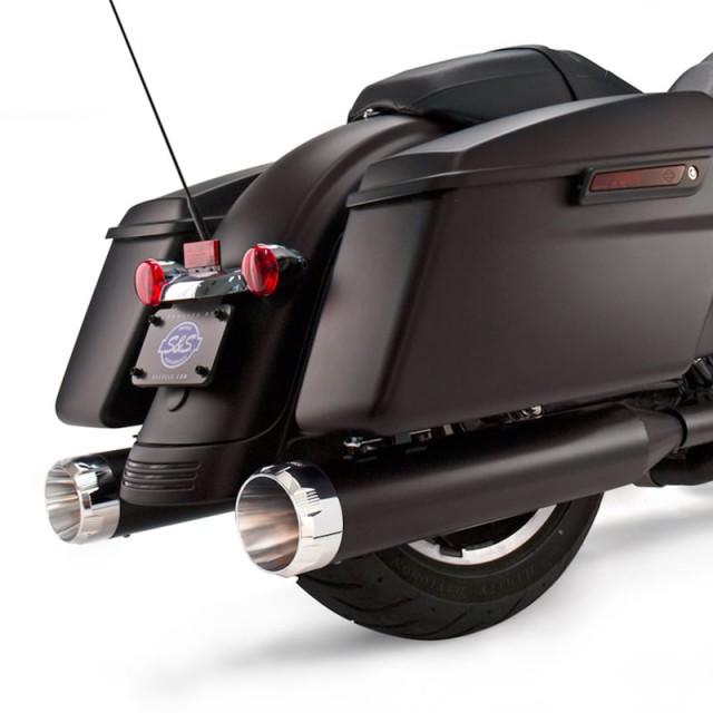 S&S MK45 BLACK SLIP-ON MUFFLERS WITH CHROME THRUSTER CAPS HARLEY TOURING - ZOOM