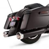 TERMINALI S&S MK45 SLIP-ON NERI CON THRUSTER CAPS CROMO HARLEY TOURING - ZOOM