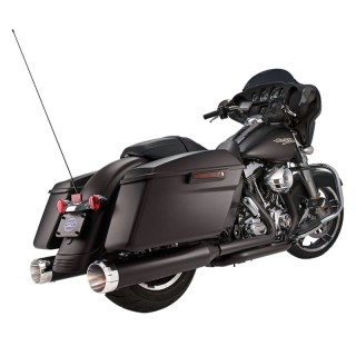 S&S MK45 BLACK SLIP-ON MUFFLERS WITH CHROME THRUSTER CAPS HARLEY TOURING