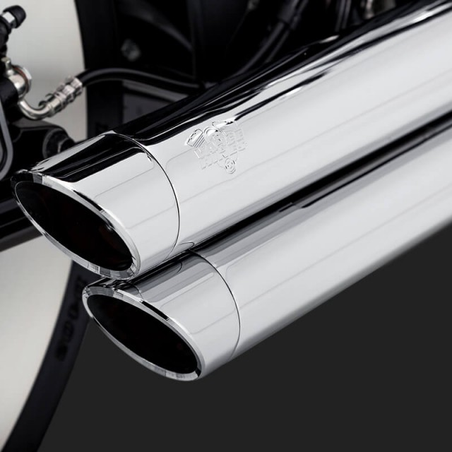 VANCE & HINES BIG SHOTS STAGGERED CHROME EXHAUST HARLEY SOFTAIL 2018-2021 - DETAIL