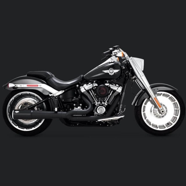 VANCE & HINES PRO PIPE BLACK EXHAUST HARLEY SOFTAIL FAT BOY-BREAKOUT 2018-2021 - SIDE