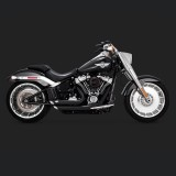 VANCE HINES SHORTSHOTS STAGGERED BLACK EXHAUST HARLEY SOFTAIL FAT BOY,KING,BREAKOUT 2018-2020 - SIDE