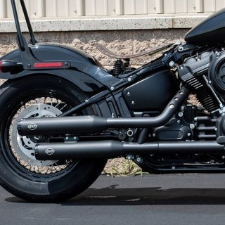 S&S GRAND NATIONAL EC EURO4 SLIP-ON BLACK MUFFLERS HARLEY SOFTAIL 18-20