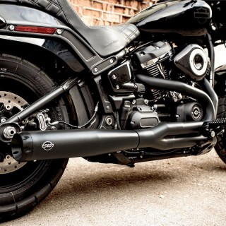 S&S SUPERSTREET 2-IN-1 BLACK EXHAUST SYSTEM HARLEY SOFTAIL FAT BOB 2018-2020 BLACK - DETAIL