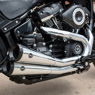 S&S GRAND NATIONAL CHROME EXHAUST HARLEY SOFTAIL 18-20 - DETAIL