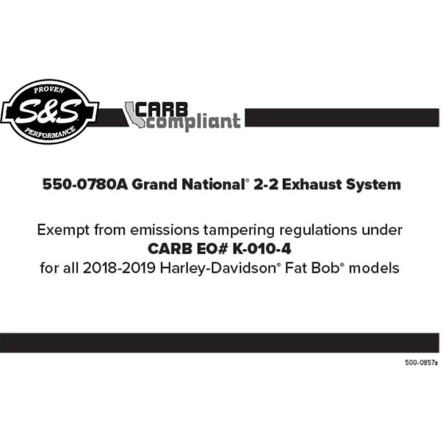 S&S GRAND NATIONAL CHROME EXHAUST HARLEY SOFTAIL 18-20 - CARB COMPLAINT