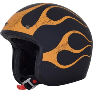 CASCO JET AFX FX-76 VINTAGE HELMET FLAME - Matt Black-Orange