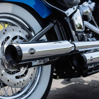 S&S GRAND NATIONAL SLIP-ON CHROME MUFFLERS SOFTAIL HERITAGE/DELUXE 18-20 - DETAIL