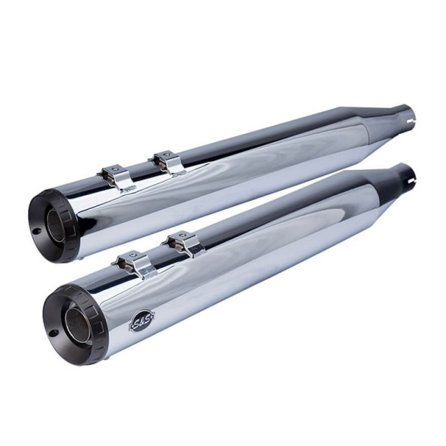S&S GRAND NATIONAL CHROME SLIP-ON MUFFLERS WITH BLACK ENDCAPS HARLEY TOURING 17-19