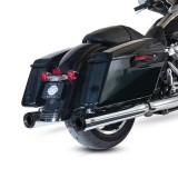 S&S GRAND NATIONAL CHROME SLIP-ON MUFFLERS WITH BLACK ENDCAPS HARLEY TOURING 17-19 - MOUNTED
