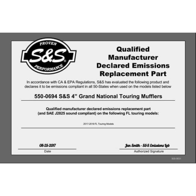 S&S GRAND NATIONAL BLACK SLIP-ON MUFFLERS WITH BLACK ENDCAPS HARLEY TOURING 17-19 - QUALIFIED MANUFACTURER
