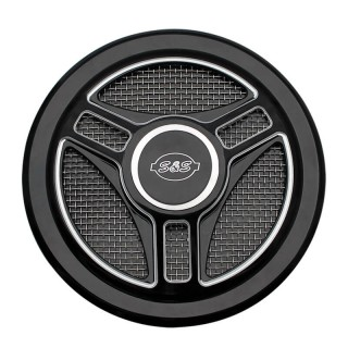 TRI-SPOKES BLACK COVER FOR S&S STEALTH AIR CLEANERS