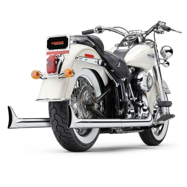 COBRA TRUE DUALS 2-IN-2 FISHTAIL CHROME EXHAUST FOR HARLEY SOFTAIL 2000-2006