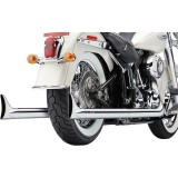 COBRA TRUE DUALS 2-IN-2 FISHTAIL CHROME EXHAUST FOR HARLEY SOFTAIL 2000-2006 - ZOOM