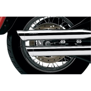 "COBRA SLIP-ONS 3"" CHROME MUFFLERS FOR HARLEY DAVIDSON SOFTAIL FAT BOY, DEUCE 2000-2006 - DETAIL"