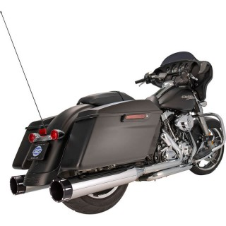 S&S MK45 CHROME SLIP-ON MUFFLERS WITH BLACK TRACER CAPS HARLEY TOURING 1984-2016