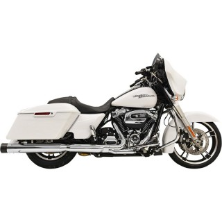 """BASSANI XHAUST DNT STRAIGHT 4"""" CHROME MUFFLER WITH BLACK END CAP HARLEY TOURING 17-21"""
