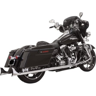 "BASSANI XHAUST SLIP-ON FISHTAIL 33"" CHROME MUFFLERS WITH QUIET BAFFLE TOURING 95-16"