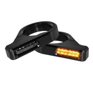 HEINZ BIKES CLASSIC BLACK FRONT LED TURN SIGNALS FOR 39-41 MM FORK ZC-LINE