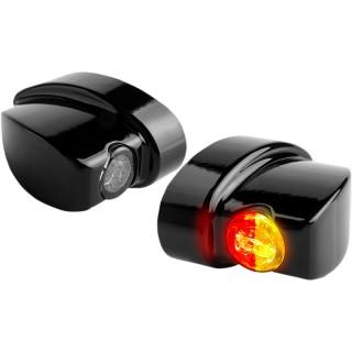 HEINZ BIKES BLACK REAR NANO SERIES WINGLETS 3IN1 LED TURN SIGNALS HARLEY 99-21