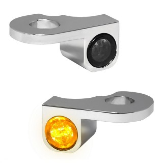 HEINZ BIKE FRONT LED TURN SIGNALS NANO SERIES CHROME TOURING 02-20 WITH HYDRAULIC CLUTCH