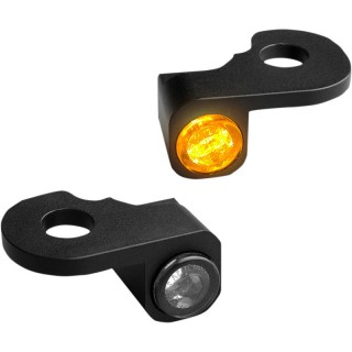 HEINZ BIKE FRONT LED TURN SIGNALS NANO SERIES BLACK HARLEY CVO 2002-2021